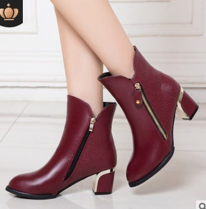 Ladies official heel Boots-maroon